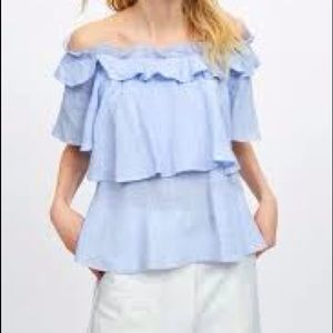 ZARA Ruffle off the should top in blue